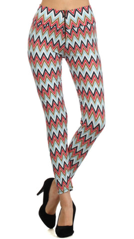 Leggings - Light Blue Chevron Print Leggings W/ Zipper