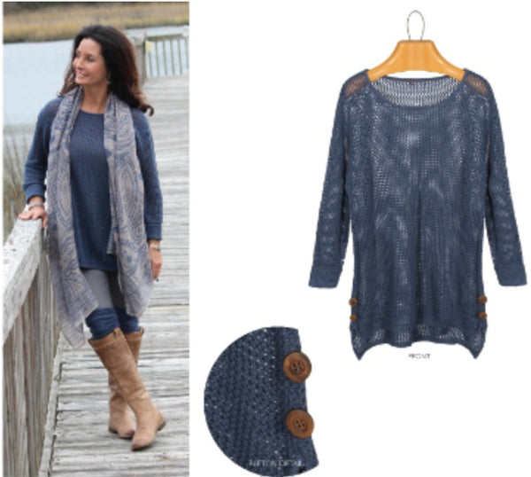 Top - Open Weave Sweater W/Side Buttons