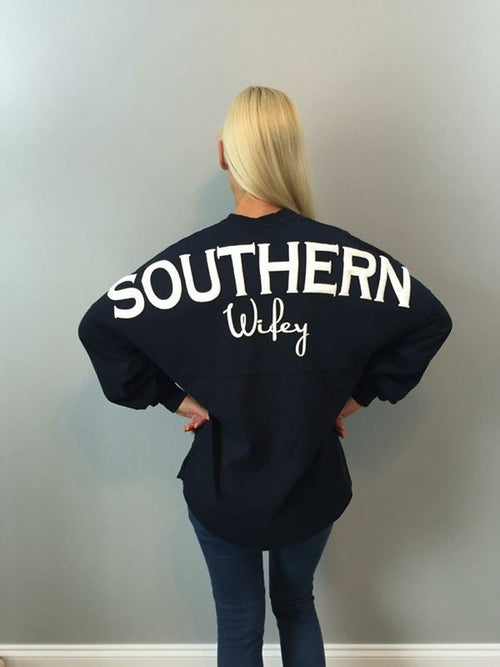 Top - Southern Wifey Spirit Jersey In Navy