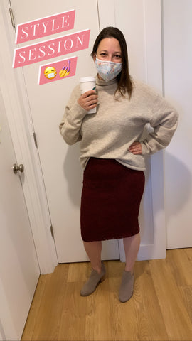 style session - maroon skirt and beige sweater