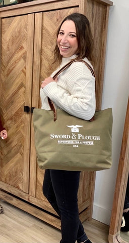 Sword and plough tote