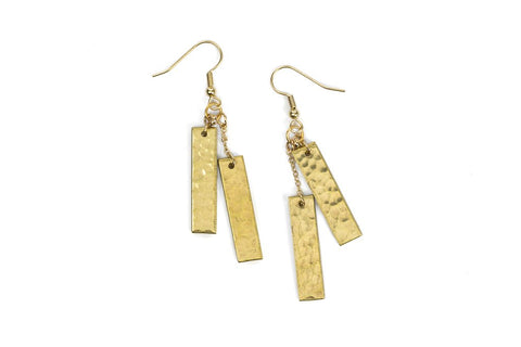 Sword & Plough Brass .50 Caliber Bar Earrings