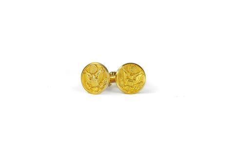 Sword & Plough Brass Military Button Cufflinks