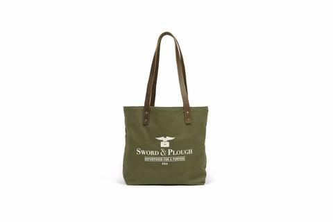 Sword & Plough Screen Printed Tote w/brown straps