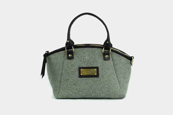Sword & Plough | Grey Wool Handbag w/ Black Leather
