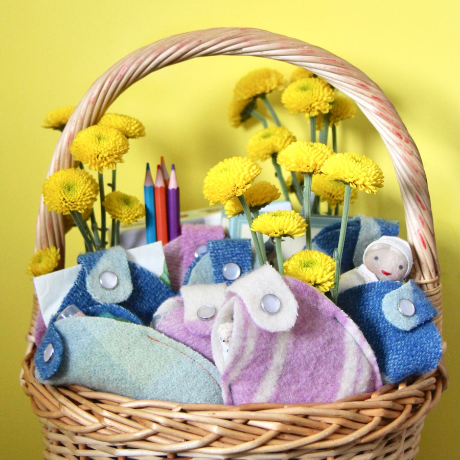 Upcycled Wool Egg Pouches in Easter basket