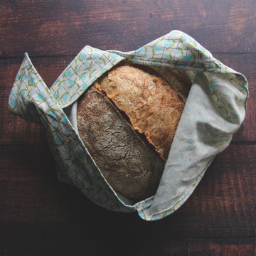linen bento bag blue bud with bread