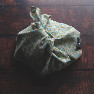 linen bento bag / blue bud