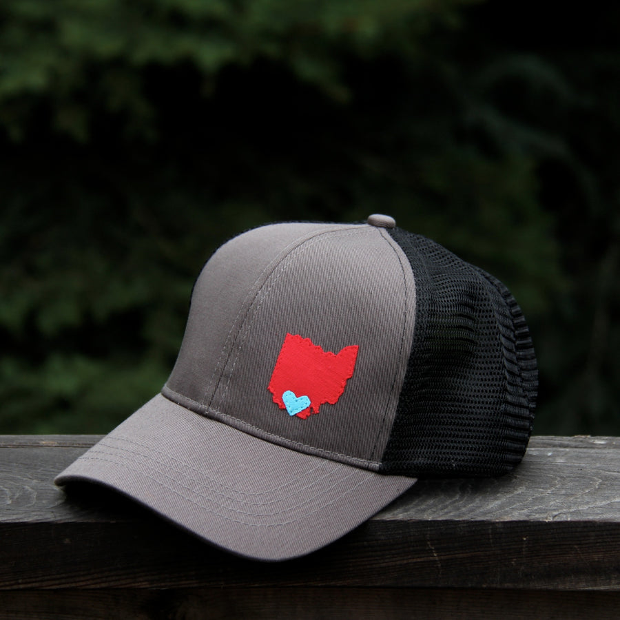 customizable geo charcoal grey trucker hat organic cotton
