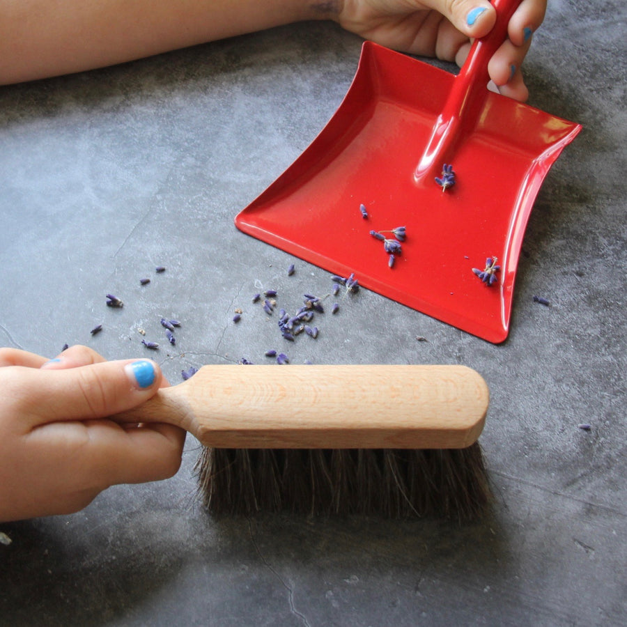 Children's Wooden Hand Brush and Red Dustpan