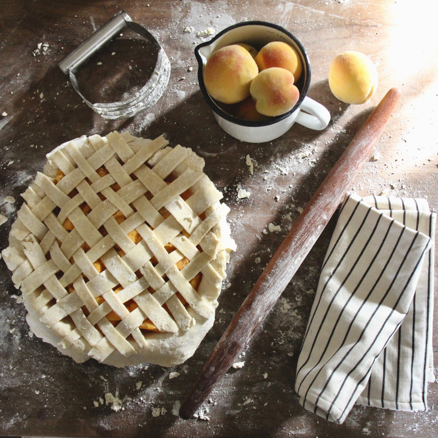 Pie Maker Gift Bundle set french rolling pin, pie sling, enamel pitcher