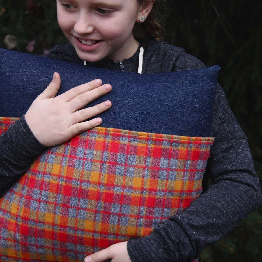 kangaroo pillow grey, red and gold plaid flannel