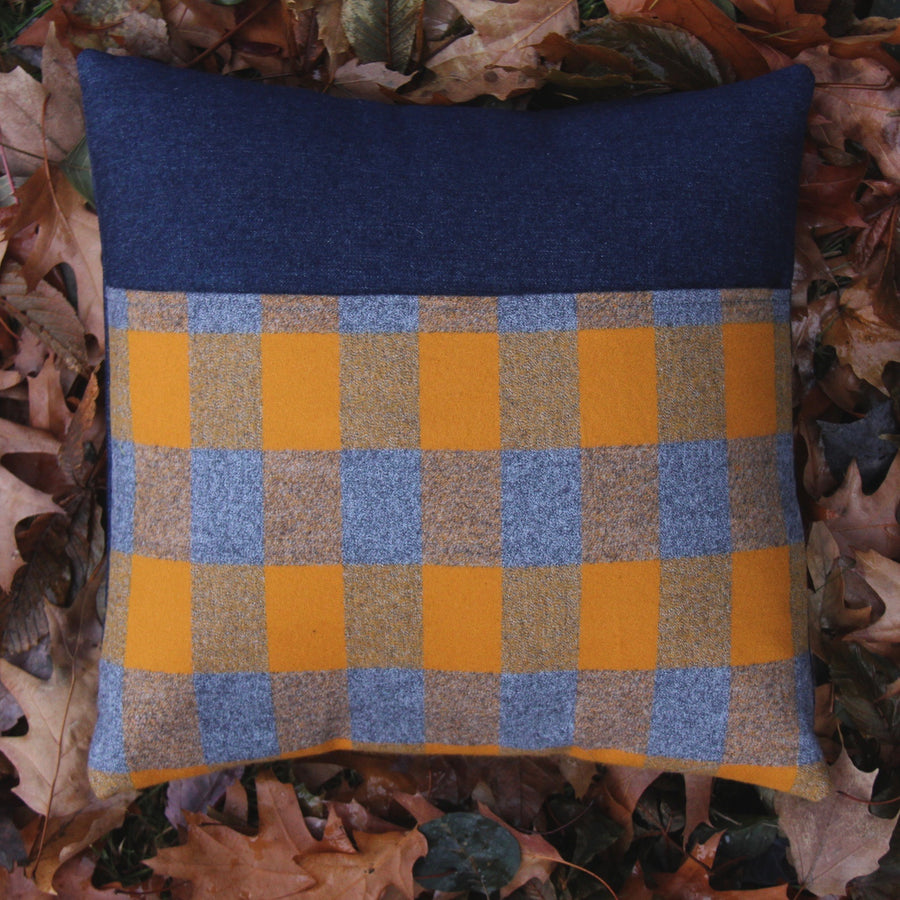 kangaroo pillow grey and gold plaid flannel