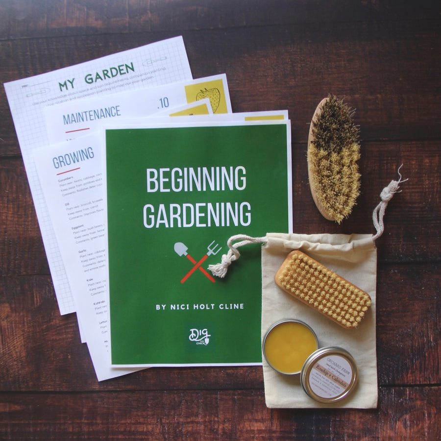 Gardening Gift Bundle - downloadable PDF, nail brush, vegetable brush, salve