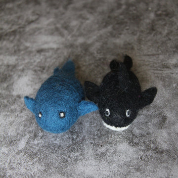 felted wool whales