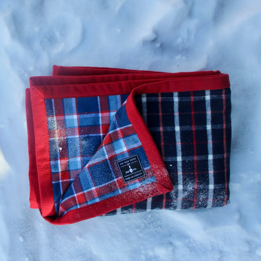 camp blanket winter edition flannel plaid handmade