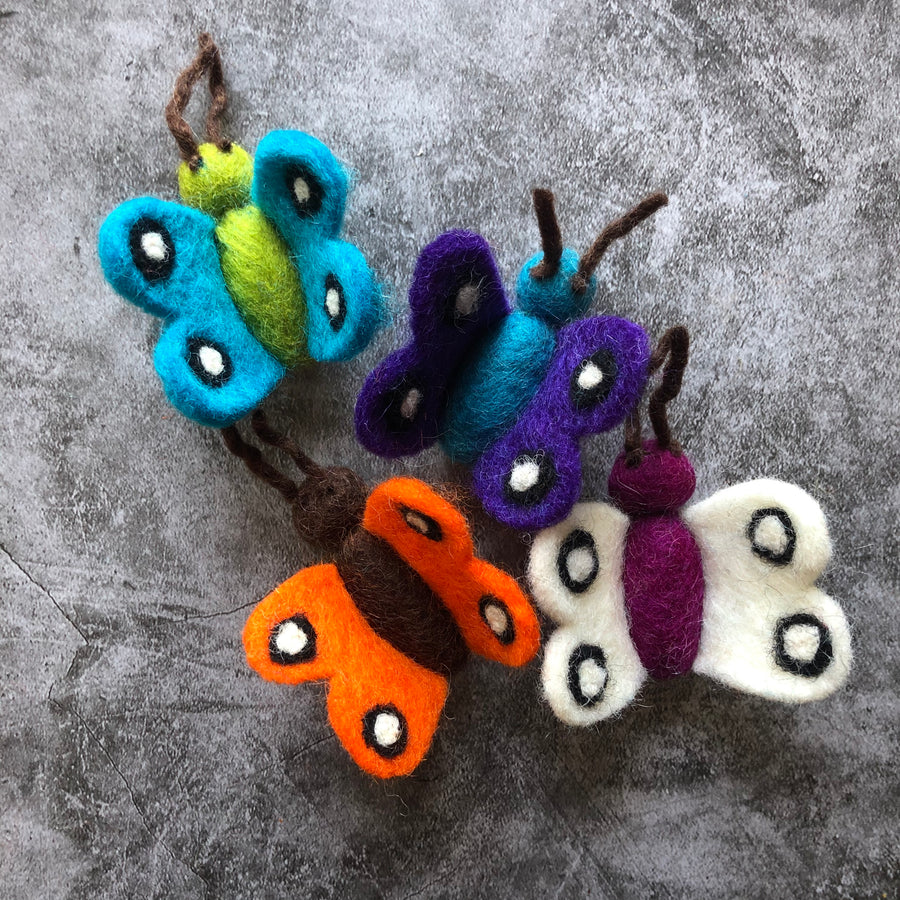 felted wool caterpillar & butterfly