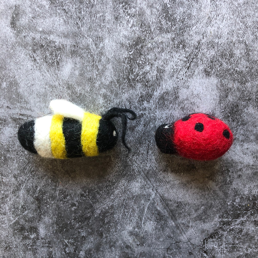 felted wool bee and ladybug