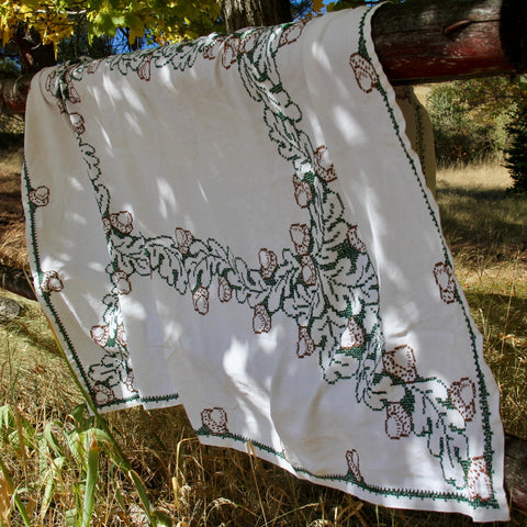 Hand Embroidered Acorn Tablecloth