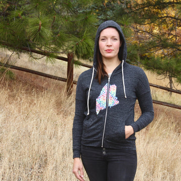 geo charcoal t shirt hoodie / LADIES
