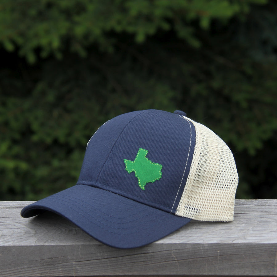 geo pacific blue trucker organic cotton texas