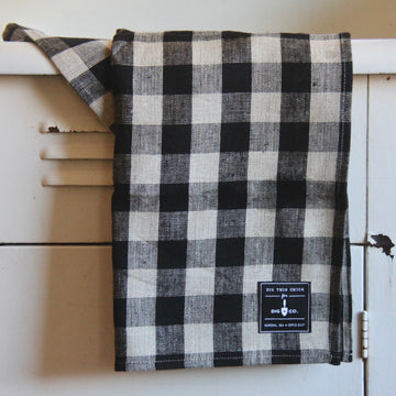 checked plaid Linen Dish Towel