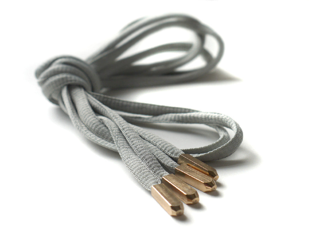 Fat Lace Yeezy Laces Grey/Gold Tip- 120cm