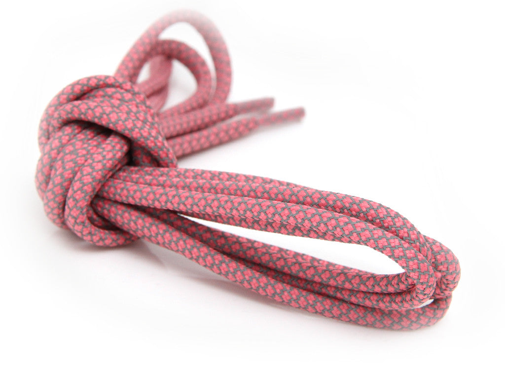 Fat Lace 3M Reflective Rope Laces Pink/Grey- 125cm