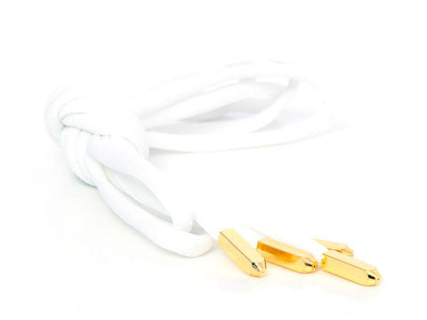 Fat Lace Yeezy Laces White/Gold Tip- 120cm