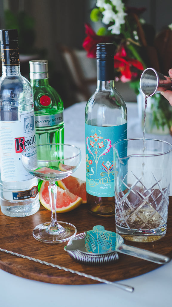 making the vesper with madonna vermouth