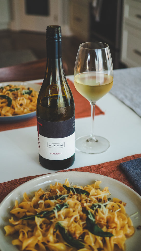 unfiltered dry riesling with fettuccine