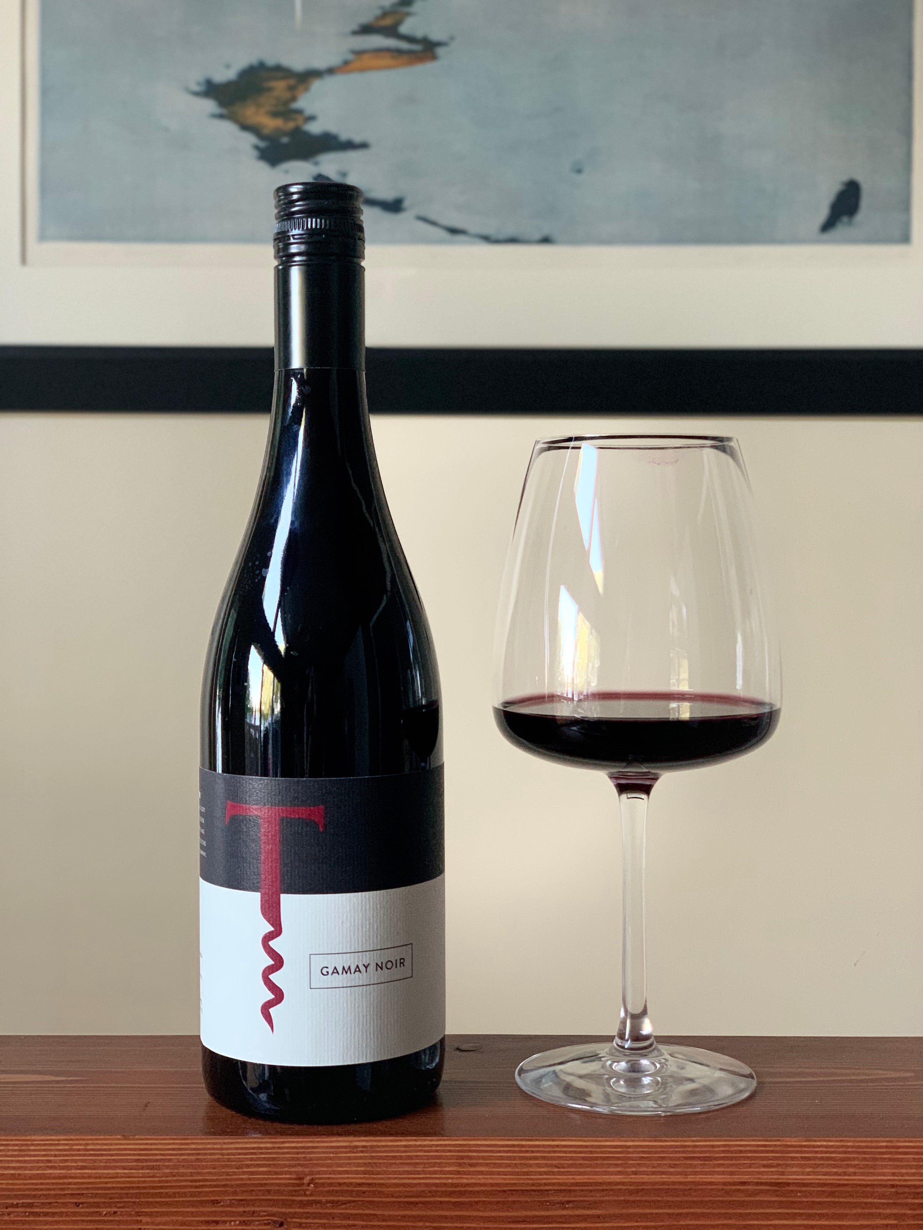 Gamay Noir bottle and glass