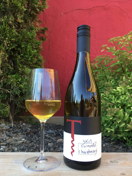Glass and Bottle of Skin Fermented Chardonnay