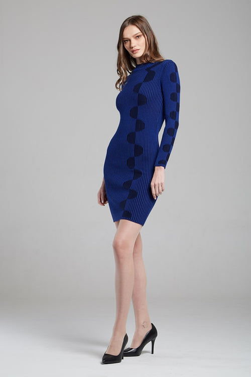 Blue two-tone ribbed knit dress with graphic detail