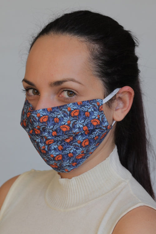Cotton Protective Cloth Mask with Integrated Filter with Blue Floral Print