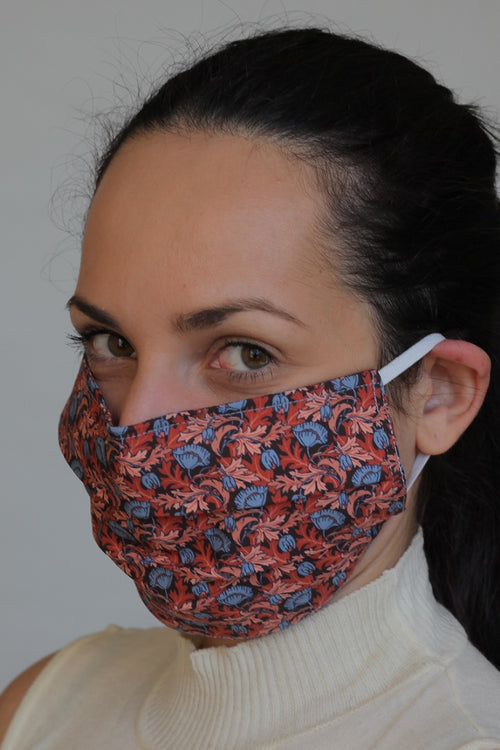 Reusable Protective Cloth Mask with Integrated Filter with Red Floral Print