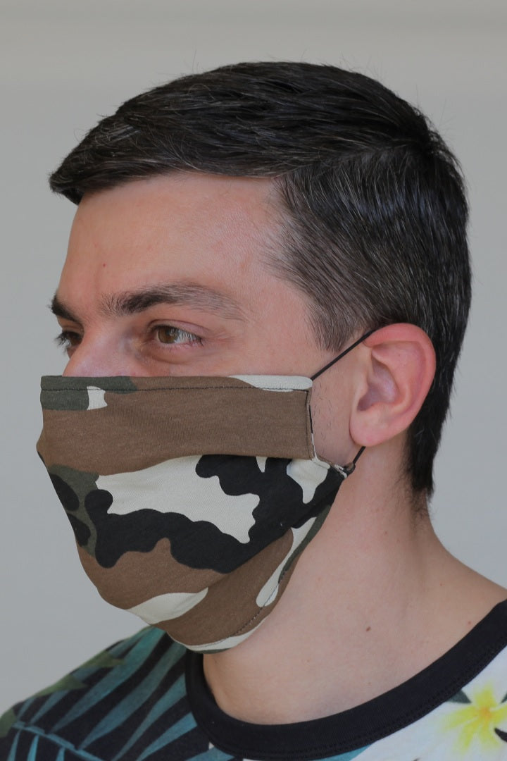 Jersey Cotton Reusable Face Mask with Filter Pocket in Camouflage