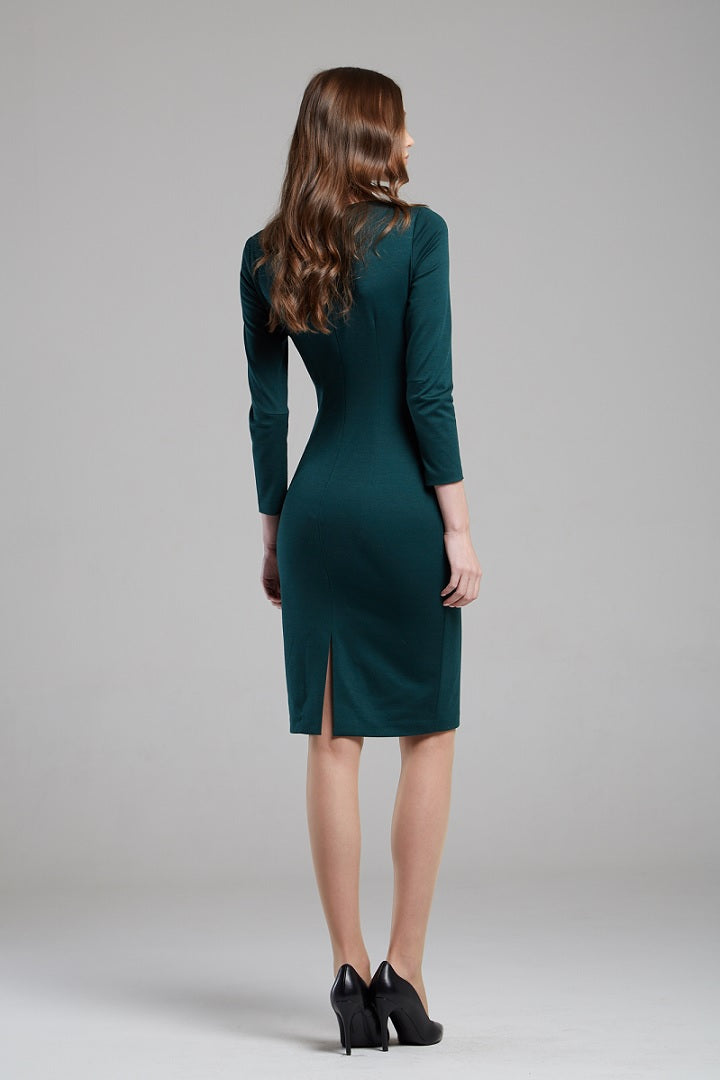 Green Soft Jersey Dress With Waistline Drapes