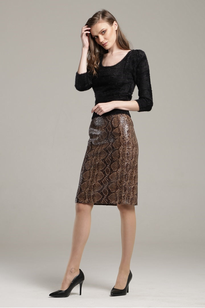 Snake skin faux leather pencil skirt