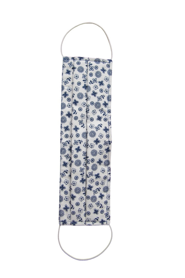 Protective Cotton Cloth Mask with Integrated Filter in Blue and White Floral Print