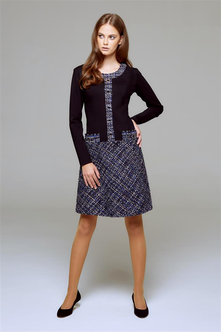 Jersey Dress With Blue Tweed Skirt