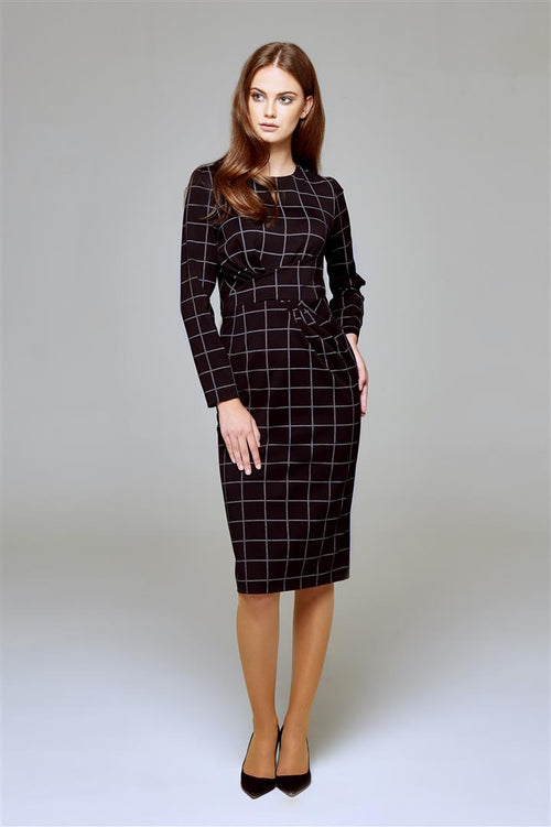 Black Check Dress With Waistline Drapes