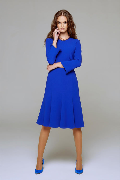 Royal Blue Fluted Dress