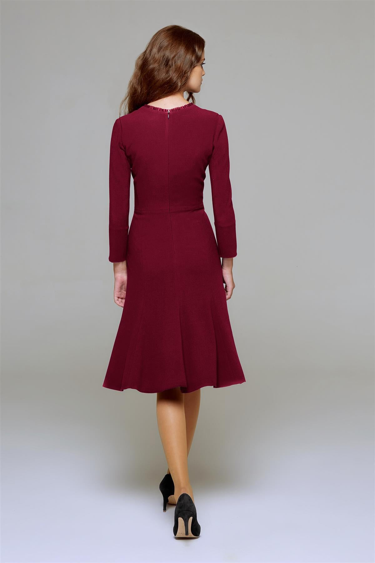 Burgundy Fluted Dress