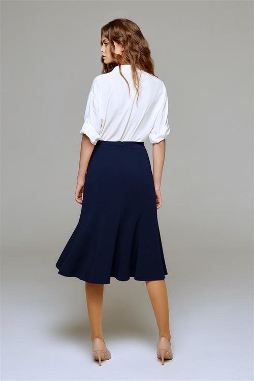 Wool midi skirt in navy