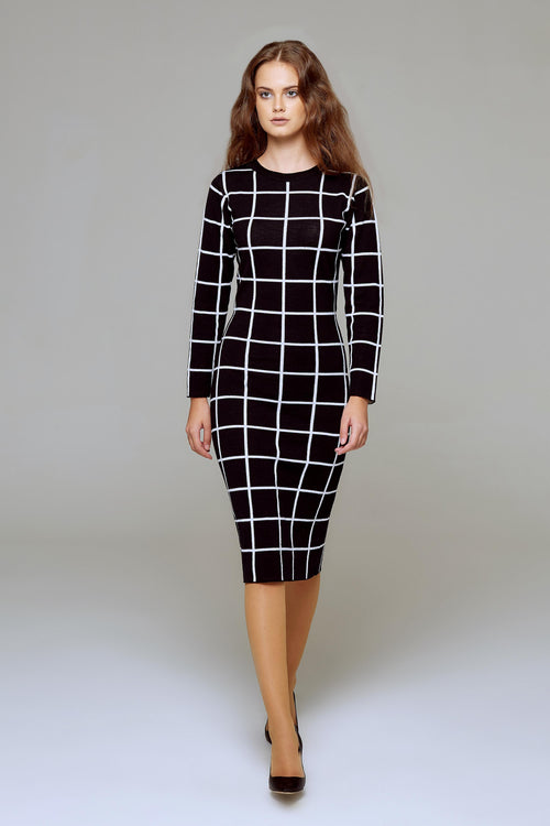 Monochrome Checked Jacquard Dress