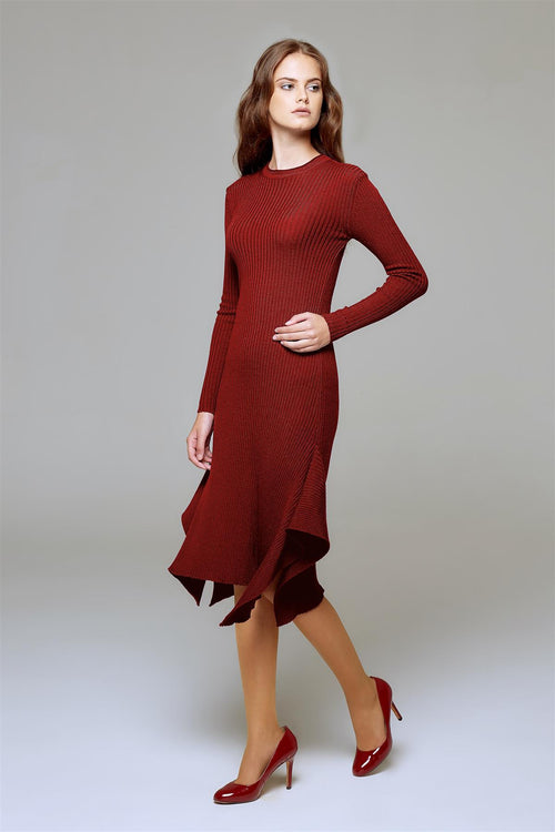 Asymmetric ribbed wool midi dress in burgundy