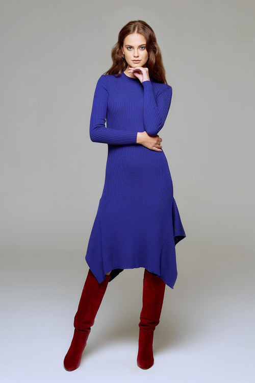 Asymmetric ribbed wool midi dress in royal blue