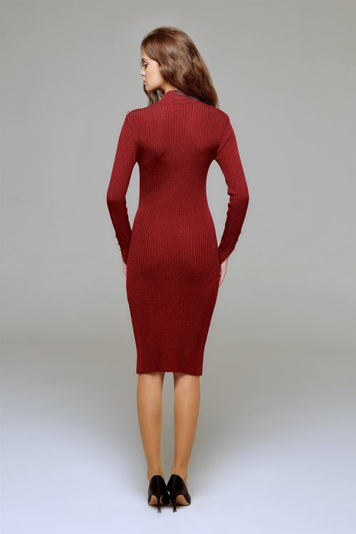 Ribbed wool midi dress in Burgundy