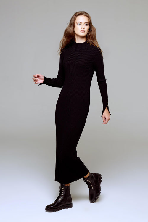 Maxi ribbed wool dress